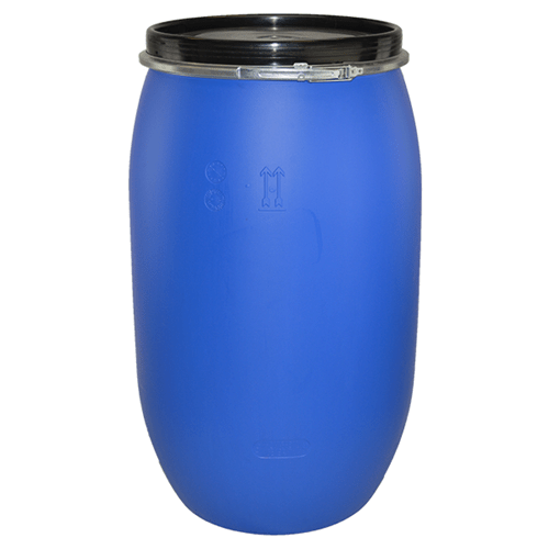 220 litre open top blue plastic drum and 220 litre tight head plastic drum front