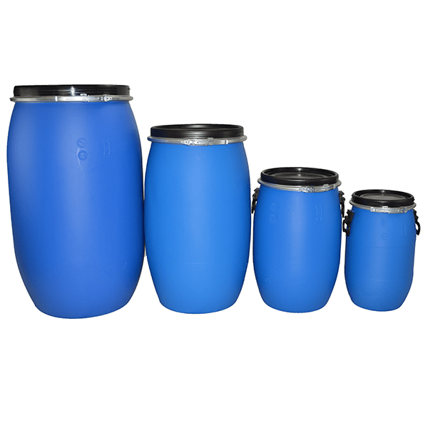 all litre open top blue plastic drum front